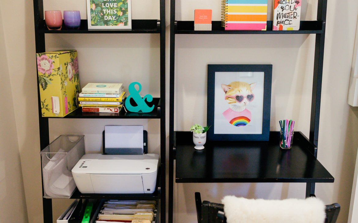 organized desk and office supplies